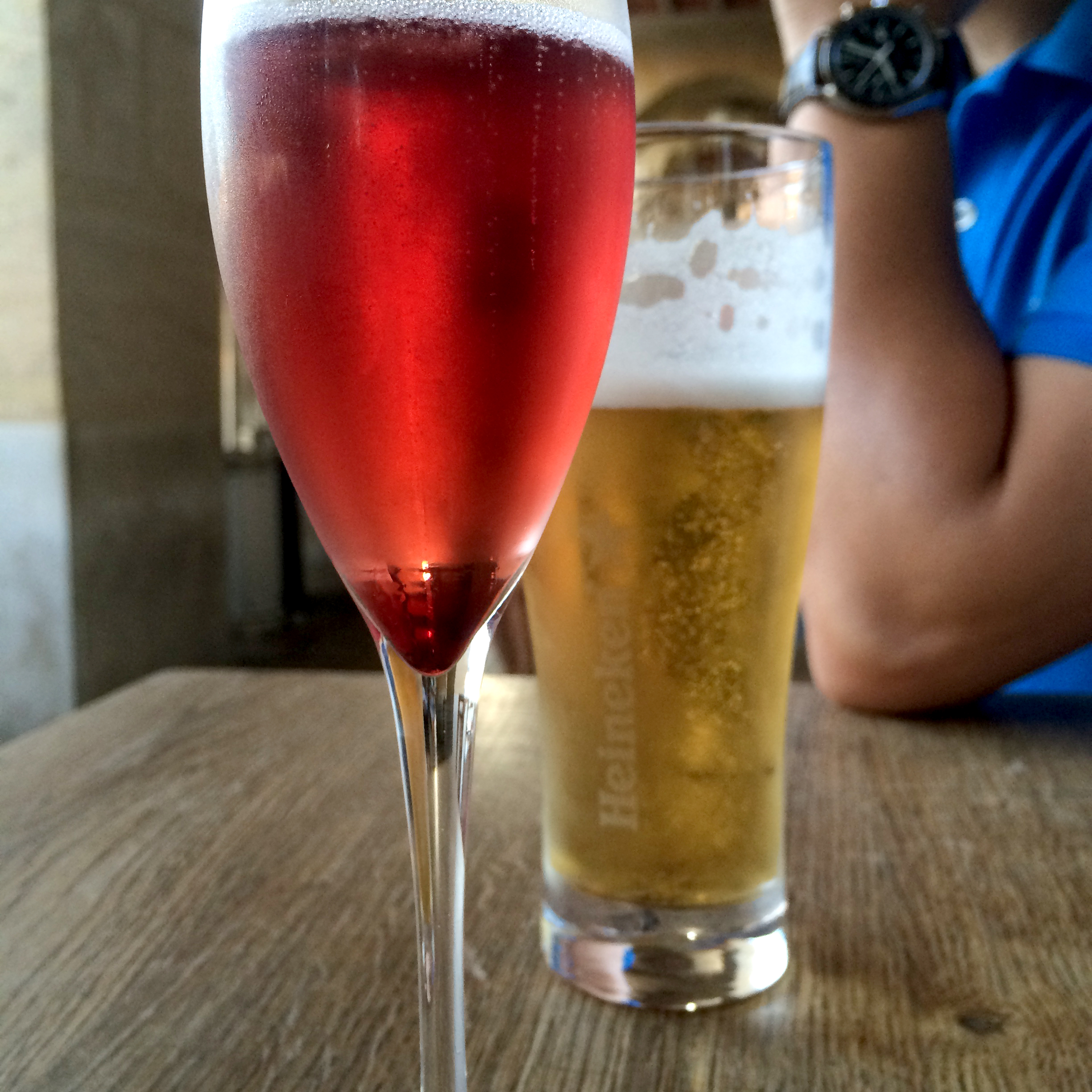 Kir for me and beer for Ky