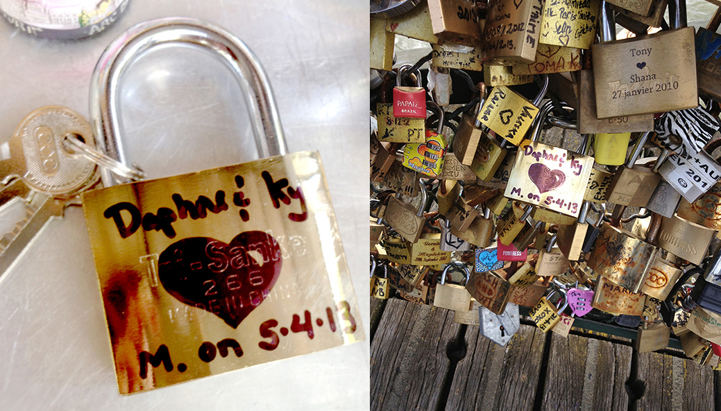 Locking our love at Pont des Arts